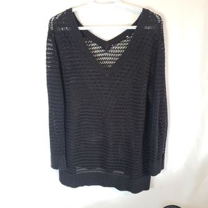 Plus size black open knit sweater tunic length